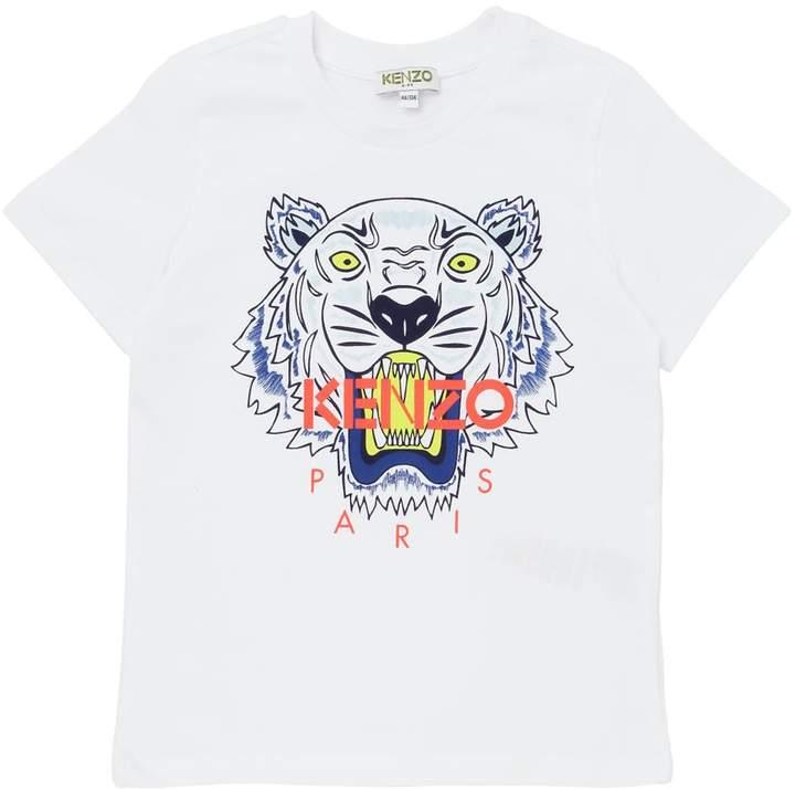 T-Shirt Aus Baumwolljersey Mit Tigerdruck