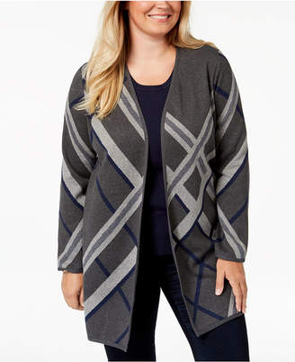 Charter Club Plus Size Cotton Plaid Long Cardigan Sweater