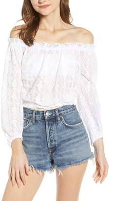 A La Plage Smocked Lace Off the Shoulder Top