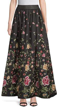 Alice + Olivia Women's Embroidery Flare Skirt