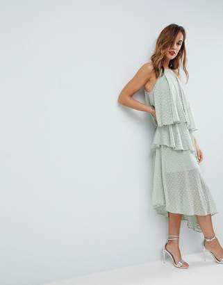 Asos Design Glitter Spot Cami Midi Dress with Deconstructed Hem