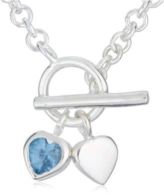 Jo for Girls Silver Plain Heart Blue Cubic Zirconia Heart Necklace
