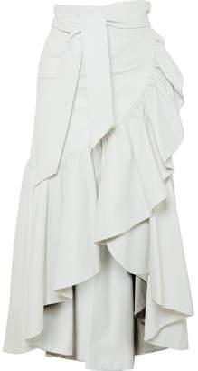 Rodarte Ruffled Leather Skirt - White