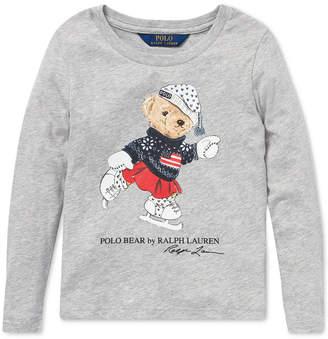 Polo Ralph Lauren Little Girls Ice Skating Bear Long-Sleeve Cotton T-Shirt