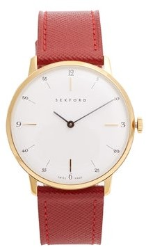 Sekford Watches - Type 1a Stainless Steel And Saffiano Leather Watch - Mens - Red Multi