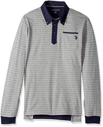 U.S. Polo Assn. Men's Classic Fit Striped Long Sleeve Pique Polo Shirt