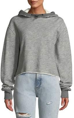 Rag & Bone Sweat Raw-Edge Cotton Pullover Hoodie