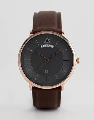 Design DESIGN minimal watch in brown and rose gold with day and date window