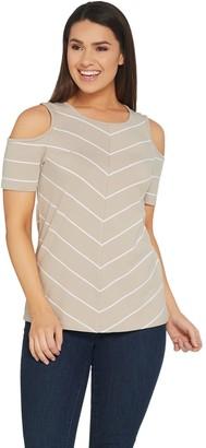 Denim & Co. Active Scoop-Neck Cold Shoulder Knit Top