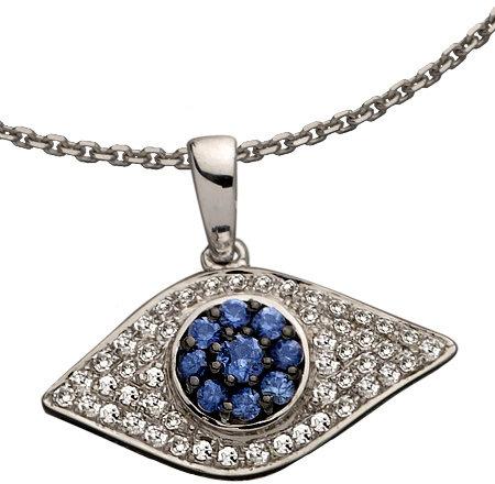 Brian Danielle White Gold Evil Eye Necklace