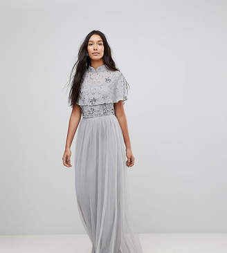 Frock And Frill Tall Premium Embellished Top High Neck Maxi Dress