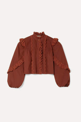 Ulla Johnson Adelaide Ruffled Broderie Anglaise-trimmed Cotton-poplin Shirt - Burgundy