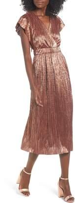 Leith Metallic Open Back Midi Dress