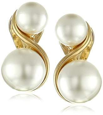 Anne Klein Tone and Faux Pearl Clip-On Earrings