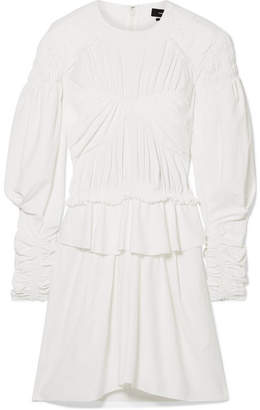 Isabel Marant Pleated Cotton-trimmed Poplin Mini Dress - White