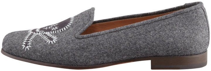 Stubbs and Wootton Stitched Skull Smoking Slipper, Gray