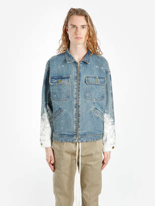 Fear Of God MEN'S BLUE SELVEDGE DENIM WORK JACKET WITH PAINTED SLEEVES