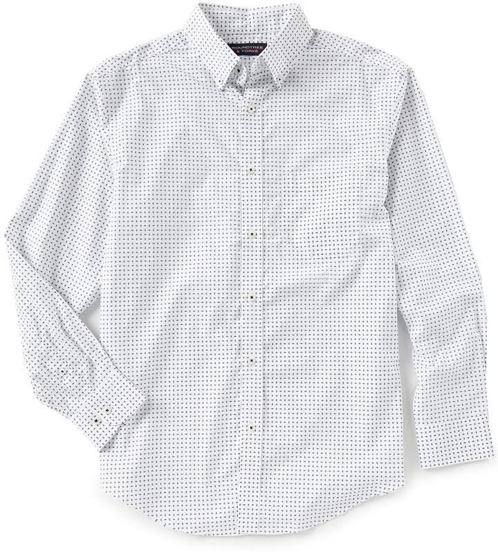 Roundtree & Yorke Big & Tall Luxury Cotton Long-Sleeve Geo Print Sportshirt