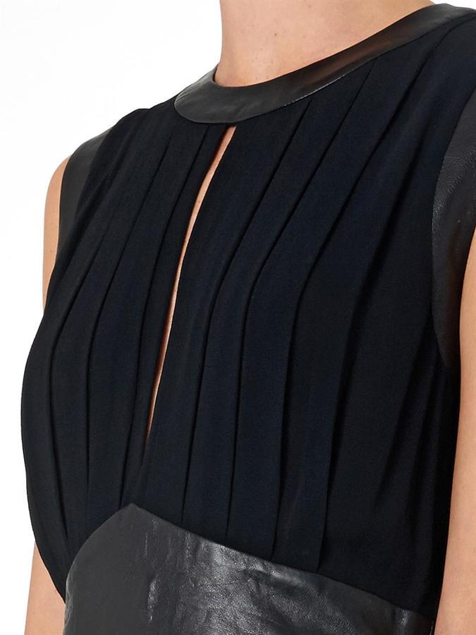 L'Agence Leather-panel chiffon dress