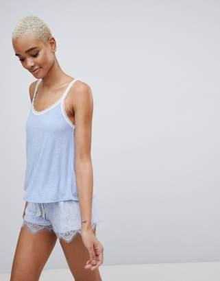 Hunkemoller Cami A-line Lace Trim Pajama Top