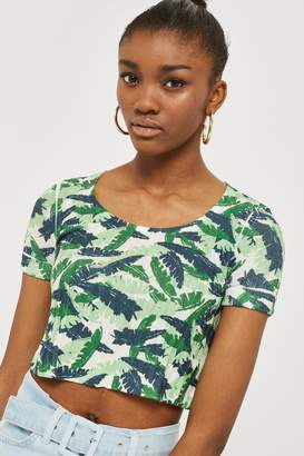 Topshop Womens Tropical Print Knitted Top - Multi