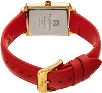 Bruno Magli Valentina Rectangular Watch w/ Leather Strap, Red/Gold