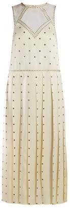 Fendi Studded Pleated Satin Midi Dress - Womens - Ivory