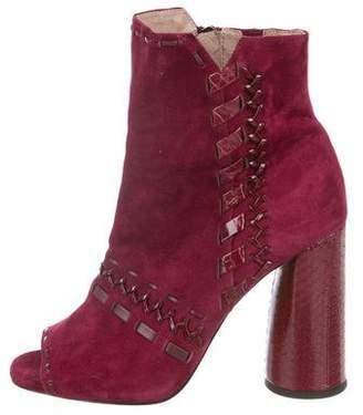 Donald J Pliner Suede Peep-Toe Ankle Boots