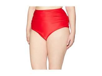 Unique Vintage Plus Size Ruched Georgiana High-Waist Bottom Women's Swimwear