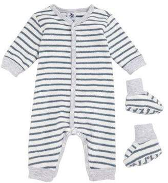 Petit Bateau Trapeze Striped Terry Romper with Booties, Baby Boy Size 1-6 Months