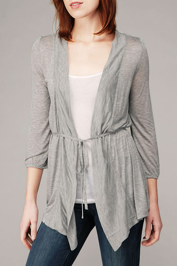 Wrap Cardigan In Heather Grey
