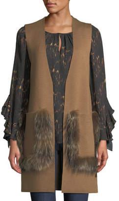 Kobi Halperin Rosena Wool-Blend Sweater Vest w/ Fur Pockets