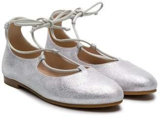 Il Gufo lace-up glitter ballerinas