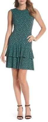MICHAEL Michael Kors Leopard Print Flounce Hem Dress