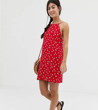 Asos DESIGN Petite scoop back shift mini sundress in ditsy floral print