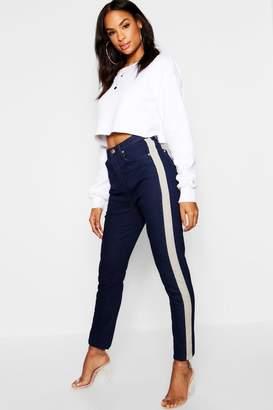 boohoo Contrast Stripe Denim Straight Jeans