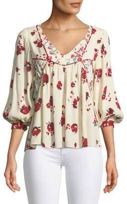 BA&SH Brige V-Neck 3/4-Sleeve Floral-Print Top