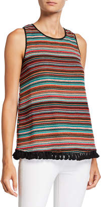 Laundry by Shelli Segal Striped Crochet Lace Halter Top w\/ Tassels