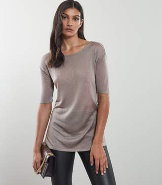 Reiss LILEA METALLIC KNITTED TOP Pewter