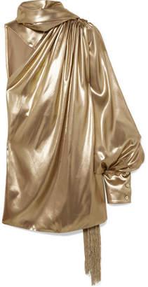 Hillier Bartley - One-shoulder Fringed Silk-lamé Blouse - Metallic