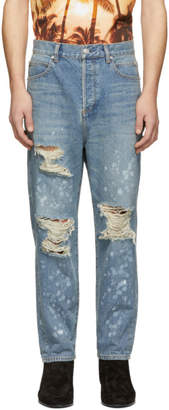 Balmain Blue Ripped Straight-Fit Jeans