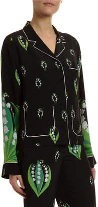 Valentino Lily Crepe de Chine Pajama Blouse