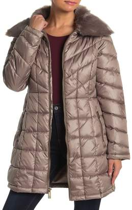 Kenneth Cole Removable Faux Fur Quilted Coat