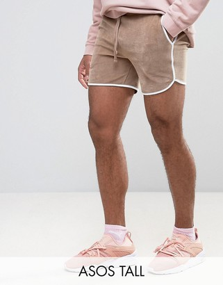 ASOS TALL Runner Shorts In Beige Velour $26 thestylecure.com