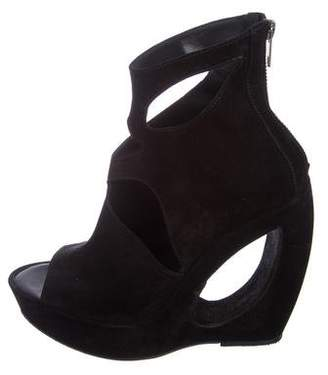 Ann Demeulemeester Suede Peep-Toe Ankle Boots