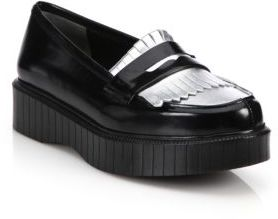 Robert Clergerie Pastek Fringed Leather Platform Loafers $575 thestylecure.com