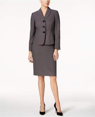Le Suit Dot-Print Shawl-Collar Skirt Suit $200 thestylecure.com