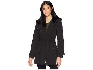 Jessica Simpson Tie Waist Softshell w/ Hood Women's Coat