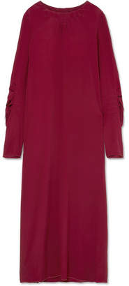 Marni Smocked Crepe De Chine Maxi Dress - Burgundy