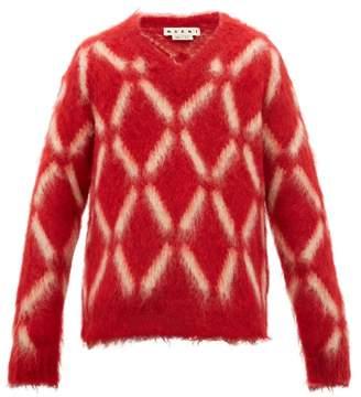 Marni Diamond Intarsia Mohair Blend Sweater - Mens - Red Multi
